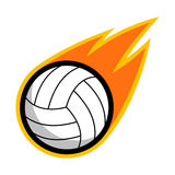 Volleyball leather sport comet fire tail flying logo. Symbol isolated label badge Stock Image