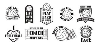 Volleyball logo set, vector illustration. Volleyball logo set, creative labels for players competing in sport game, athletes and coaches motto, t-shirt badge for vector illustration