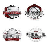 Volleyball logos. Set of volleyball college league / championship / tournament / club badges, labels, icons and design elements. Volleyball themed t-shirt Royalty Free Stock Photos