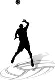 Volleyball Male Sihouette Hit with Ball Stock Photo