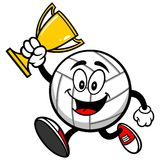 Volleyball Mascot Running with Trophy. A vector illustration of a Volleyball Mascot Running with Trophy Stock Photos