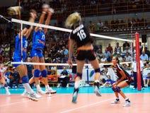 Volleyball : Match d'essai de Preolympic Image libre de droits