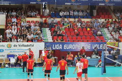 Volleyball match european ligue spanish team. Match volleyball between two europeans teams with supporters Stock Images