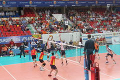 Volleyball match european ligue. Match volleyball between two europeans teams with supporters Royalty Free Stock Image