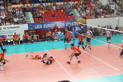 Volleyball match european ligue. Match volleyball between two europeans teams with supporters Royalty Free Stock Images