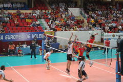 Volleyball match european ligue. Match volleyball between two europeans teams with supporters Royalty Free Stock Photo