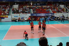 Volleyball match european ligue. Match volleyball between two europeans teams with supporters, with spanish seleccion team Stock Image