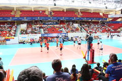 Volleyball match european ligue. Match volleyball between two europeans teams with supporters, with spanish seleccion team Stock Photography