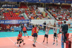 Volleyball match european ligue. Match volleyball between two europeans teams with supporters, with spanish seleccion team Royalty Free Stock Photo
