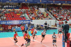 Volleyball match european ligue Stock Photo