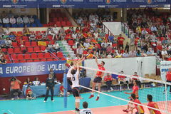 Volleyball match european ligue Royalty Free Stock Photo