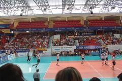 Volleyball match european ligue. Match volleyball between two europeans teams with supporters, with spanish seleccion team Royalty Free Stock Image