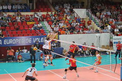 Volleyball match european ligue. Match volleyball between two europeans teams with supporters, with spanish seleccion team Stock Images