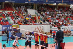 Volleyball match european ligue. Match volleyball between two europeans teams with supporters, with spanish seleccion team Stock Photos