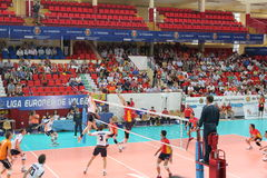 Volleyball match european ligue. Match volleyball between two europeans teams with supporters, with spanish seleccion team Royalty Free Stock Photos