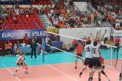 Volleyball match european ligue. Match volleyball between two europeans teams with supporters, with spanish seleccion team Stock Photo