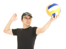 Volleyball men with the ball. Royalty Free Stock Image
