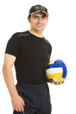 Volleyball men with the ball. Royalty Free Stock Photo
