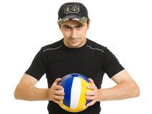 Volleyball men with the ball. Royalty Free Stock Photography