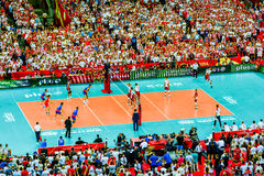 Volleyball Men's World Championship opening game Poland-Serbia, Warsaw, 30 August 2014 Royalty Free Stock Photography