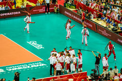 Volleyball Men's World Championship opening game Poland-Serbia, Warsaw, 30 August 2014 Royalty Free Stock Images