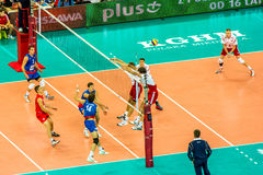 Volleyball Men's World Championship opening game Poland-Serbia, Warsaw, 30 August 2014 royalty free stock photo