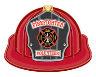 Volleyball Mom Design. Firefighter Volunteer Red Helmet is an illustration of a red firefighter helmet or fireman hat from the front with a shield, Maltese cross Royalty Free Stock Photo