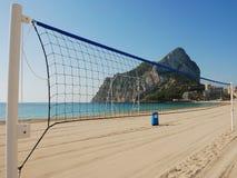 Volleyball net. On a sandy mediterranean beach Stock Photography