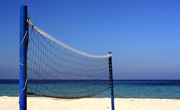 Volleyball net. On an empty beach Royalty Free Stock Photography