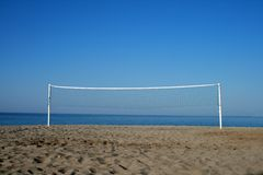 Volleyball net. On the sand beach stock photography
