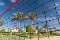 Volleyball net on a background blue sky Stock Photography