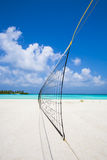 Volleyball net at the beach Royalty Free Stock Photo