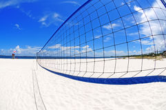 Volleyball net on beach Stock Images