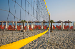 Volleyball net on beach Royalty Free Stock Photos