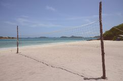 Volleyball net on the beach. Volleyball activities on the beach Royalty Free Stock Images