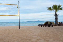 chair volleyball net. volleyball net and beach chairs on the royalty free stock photography chair