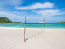 Volleyball net on the beach Royalty Free Stock Image