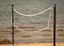 Volleyball net on the beach close-up. Stock Image