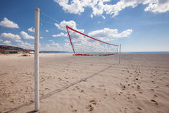 Volleyball net at the beach Stock Images