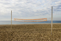 Volleyball net in the beach Stock Photo
