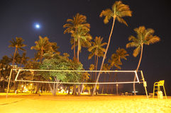 Volleyball net  on the beach at night Royalty Free Stock Photography