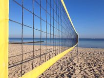 Volleyball net on the beach. Without people at baltic sea stock photo