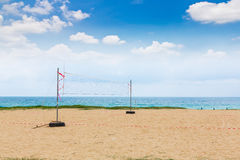 Volleyball net on the beach Stock Photo