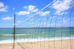 Volleyball net at the beach Royalty Free Stock Images
