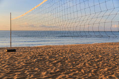 Volleyball net. On the beach on summer stock photo