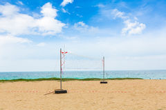 Volleyball net on the beach on white background Royalty Free Stock Photos