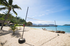 Volleyball net with blue sky and sea Royalty Free Stock Photo