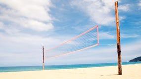 Volleyball net on empty sand beach Stock Photography