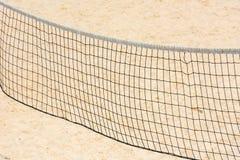 Volleyball net on empty sand beach Royalty Free Stock Photo