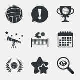 Volleyball and net icons. Winner award cup. Volleyball and net icons. Winner award cup and laurel wreath symbols. Beach sport symbol. Attention, investigate and Stock Images